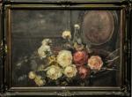"""""""Rosas"""", o.s.t., 50 X 70 cm, assinatura não identificada."""