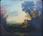 """Escola Europeia (Séc. XVIII) """"Paisagem com Pescador e Castelo"""", o.s.t,  26 x 31 cm."""