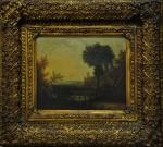 """Escola Européia. Século XVIII """"Paisagem com castelo ao fundo"""", o.s.t., 26 x 30 cm. Com selo ao fundo."""
