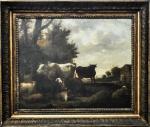 """Possivelmente Europa século XVIII """"Rancho com Animais"""", o.s.t, . 45,5 x 56 cm, assinatura não identificada."""