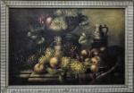 """""""Mesa com Ornamentos, Frutos e Folhagens"""", o.s.t, 60 X 90 cm, assinatura não identificada."""