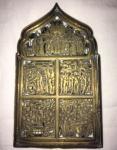 Placa religiosa em bronze com resquícios  de esmaltado com cenas bíblicas. Medidas: 17 X 10 cm.