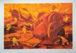 Enrico Bianco - Cortadores de Cana - Gravura em serigrafia - Ediação 2/50 - assinatura canto inferior direito - Medida Externa 49 x 72 cm - Medida interna 40 x 60 cm