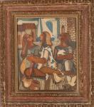 "DI CAVALCANTI-"" Figuras, pombos e casario"",OSC, moldura kaminaguai. Med: 46 x 38 cm"
