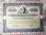 Titulo público nº 155961 do ESTADO DE PERNAMBUCO no valor de 100 mil Réis. Mede 21 x 27,5 cm.