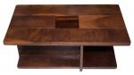 Mesa de centro em madeira de lei, com dois estágios e centro vazado para vaso de planta. Designer Casa Filand. Med: 0,34 x 1,00 x 0,59 cm.
