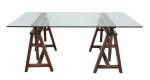 SÉRGIO RODRIGUES (Rio de Janeiro, RJ, 1927 - 2014) - Mesa  cavalete executada em jacarandá maciço com regulagem de altura para tampo em cristal de 15 mm, detalhes em couro.  Med.: 90 x 90 x 180  cm.
