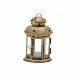 Lanterna decorativa em metal com parte superior com belos vazados em formato de estrelas e laterais protegidas por vidros. Medidas 16cm de altura. Peça sem uso em excelente estado.