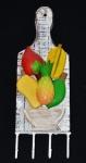 Porta chaves ou apetrechos de cozinha  em madeira com 4 ganchos e decoração de frutas. Medida 12x36cm.