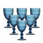 Jogo com 6 (seis)  espetaculares taças para vinho vom relevos elegantes e em tom azul. Capacidade 210 ml.