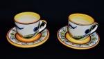Lote com 2 (duas) xícaras de chá em porcelana do renomado LUIZ SALVADOR. Peças sem uso e em excelente estado.