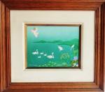 PINTURA NAIF - LIGIA LAGES - Óleo sobre tela em obra Naif com anjos e animais, ricamente emoldurado. Medida da tela 20x24cm e com moldura 42x46cm.