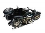Grande e bela moto com sidecar remetendo a antiga moto BMW. Medidas 27 cm de comprimento.