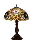 Abajur ao melhor estilo Tiffany art nouveau com cúpula em mosaico de pasta de vidro com relevos de florais em base de metal patinado. Medida 45 cm de altura e 30 cm de diâmetro de cúpula. Peça de grande beleza, sem uso e na caixa original.