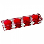 Porta velas em bloco de vidro, com espaço para 4(quatro) velas. Medida 23cm de comprimento.
