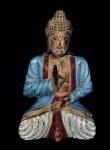 Grande escultura da Buda em madeira entalhada com origem oriental. Medida 45cm de altura.