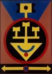 Rubem Valentim - Emblema - 1984 - A.S.T. Assinado, datado e localizado no verso. Obra med. 70x50cm. Acervo Particular - Rio de Janeiro