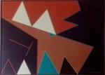 Judith Lauand - 1976 -  Excepcional óleo sobre tela, assinado e datado no C.I.D. Assinado no verso. Obra med. 50x70cm. Acervo Particular - Rio de Janeiro. Acompanha Doc. Transferência de Propriedade.