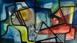 Roberto Burle Marx - 1979 - Panneux - Tinta gráfica sobre tecido, sobre tela, montado em chassi  com moldura baguete. Assinado e datado no canto inferior direito. Obra med. 53x93cm. Acervo Particular - Rio de Janeiro
