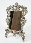ART NOVEAU - Espelho de mesa em estanho prateado datado 1923. Med. 28 x 18 cm