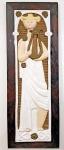 GIUSEPPE SCAPINELLI  (1891-1982) - Pesada placa em jacarandá com aplicação de figura de hapista em faiança / cerâmica vitrificada em relevo.  Med. 94 x 34 cm.
