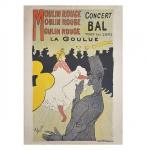 TOULOUSE LAUTREC - Litogravura colorida cartaz Moulin Rouge Concert Bal. Assinada com monograma na matriz, no c.i.e. ( lito off set)  Med. 71 x 51 cm