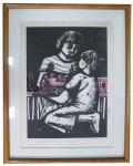 ZORAVIA BETTIOL. Composição com Meninos, Gravura com dedicatória, 65 x 46 cm., datado 88