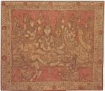 Grande pintura indiana sobre seda, emoldurada, repres. figuras de dançarinas. Med. 116 x 103 cm. Possivelmente inicio do séc.XX.