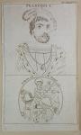 Gravura francesa em ponta seca com retrato do Rei FRANÇOIS I na porção superior e na parte inferior representação de San Martin e o Mendigo. Autêntica, datada de 1784 no C.S.D. Autor não identificado. Emoldurado. Med. 20 x 12 cm