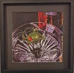 MICHEL GODARD - 'No Lifeguard on Duty' - Azeitona nadando no Martini. Impressão de luxo com edição limitada, ano  2003. Revestida com película de acrílico para preservação. impresso nos Estados Unidos. Emoldurada. Med. 35 x 35 cm.