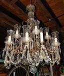 Grande dimensão: Belíssimo lustre de cristal para 15 lâmpadas. med.  1,00 x80 cm