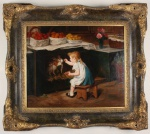 Assinatura ilegível OST - Escola Inglesa. Menina alimentando coelhinhos. Temática e estilo do século XIX. Lindamente emoldurado. Mede 59cm x 49cm de altura.