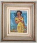 """Yara Tupynambá,1968 """"Fugura em Amarelo"""" - Pastel a óleo. A renda da venda do quadro será revertida para o Núcleo Assistencial Caminhos para Jesus. Mede 31cm x 41cm de altura."""