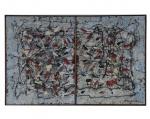 """ANTONIO BANDEIRA - """"Díptico"""", O.S.T., assinado no canto inferior direito e datado de 1959, chaci francês em pinho de riga, apresenta documento de transferência de propriedade e certificado da família do artista. Med.: 36 x 56 cm."""
