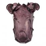 Belíssmo vaso de Murano em espetacular tom beringela com aspentes elegantes. Medida 24 cm de altura