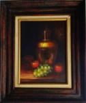 Natureza Morta - óleo sobre tela, asinatura não identificada. Medidas: 50X60 cm com moldura e 28x38 cm de tela.