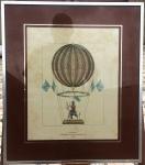 """Antiga gravura, """"Ascension de Margat Sur Son Cerf Aéronaute Coco 1817. Moldura em metal e vidro. Dimensões: 45 cm x 55 cm."""