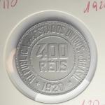 0101 Numismatica -  Moeda Brasil 400 reis Niquel Escassos no Estado de Conservação 1920 . Essa Peça fez parte de uma Importante Coleção Numismática e as peças além de raras Apresentam um estado de conservação Excelente.