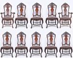 Conjunto de dez cadeiras em jacarandá mineiro. Fino trabalho de entalhe estilo Dom José. Acento em couro ricamente pirogravado. Med. 1,18 x 54 x 42 cm.