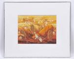 """Enrico Bianco- """" colheita """", óleo sobre madeira industrializada. Assinado cid, verso e datado 1991. Med. 45 x 56 cm e  85 x 100 cm com a moldura. ( possibilidade de tirar o certificado de autenticidade )"""