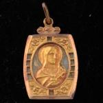 Pingente em Ouro 18 K e madrepérola, com rachaduras,  Imagem de Imaculado Coração de Maria, peso 1.0 gramas, medindo 2 x 1 cm.