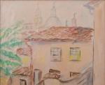 Yutaka Takaoka, Atribuído, aquarela sobre papel casario com igreja, medindo 19 x 23,5 cm. não está emoldurado.