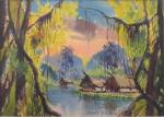 Helios Seelinger, guache sobre cartão, representando floresta com casario, medindo 22 x 31 cm. não está emoldurado.