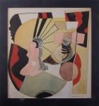 Angelo Rodick, guache abstrato, datado de 1967, medindo 35 x 32,5 cm. não está emoldurado.