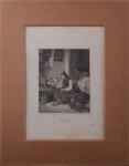 Gravura Suíça, reproduzindo Mãe Zelosa, data de 1856, medindo 25 x 18 cm. não está emoldurada.