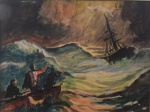 Edoardo de Martino, guache assinado canto superior direito reproduzindo, tempestade, medindo 14,5 x 18,5 cm. não está emoldurado