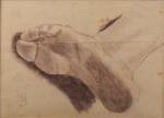 Henrique Bernardelli, crayon, assinado com monograma no canto inferior esquerdo, estudo de Pé, medindo 21 x 28 cm. não está emoldurado.