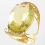 Anel em Ouro 18 K com 0,98 quilates de Brilhantes e Green Gold com peso total 7,7 gramas.