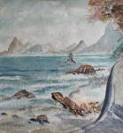 Yutaka Takaoka, Aquarela iconográfica, vista do Rio de Janeiro, assinada medindo 22,5 x 21 cm.