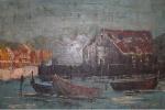 Raul Brandão, acrílica sobre placa industrializada, representando Cais com Barcos, medindo 38 x 43 cm.